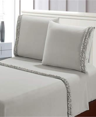 Bella Shabby Chic Easy Care Ruffled 4pcs Microfiber Bed Sheet Set Bedding
