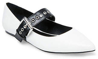 Lord & Taylor DESIGN LAB Point Toe Buckle-Up Mary Jane Flats