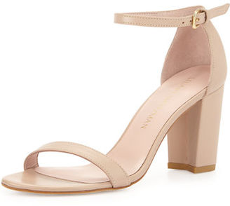 Stuart Weitzman Nearlynude Leather City Sandal $398 thestylecure.com