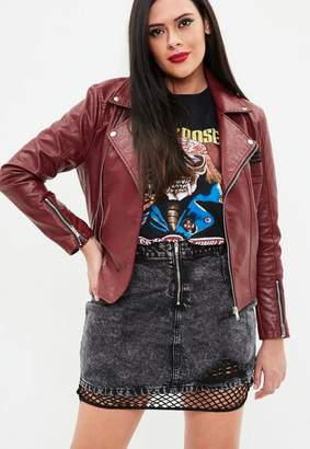 Missguided Curve Red Faux Leather Embroidered Biker Jacket