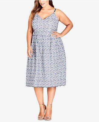 City Chic Trendy Plus Size Cotton Fit & Flare Midi Dress