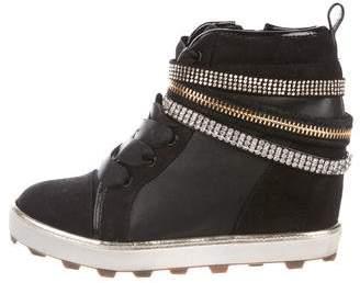 Stuart Weitzman Girls' Embellished High-Top Sneakers