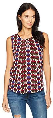 Nine West Women's Jewel Neck Pleat Front Printed Blouse (2)