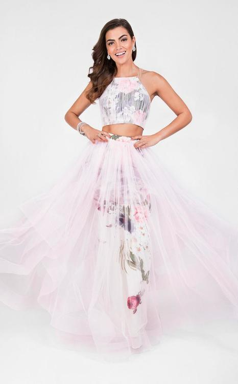 Terani Prom - Two Piece Halter Layered A-line Prom Gown 1711P2809
