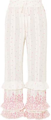 LoveShackFancy Kenley Ruffled Printed Cotton-voile Pants - White
