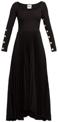 A.W.A.K.E. Mode Pleated Jersey Dress - Womens - Black