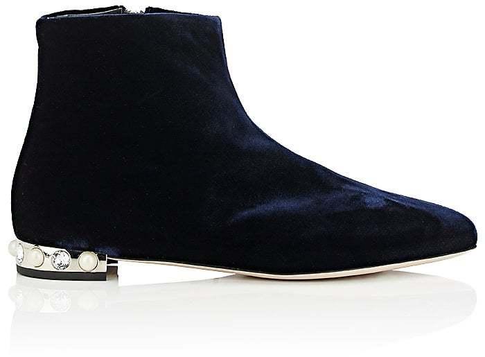 Miu Miu Women's Embellished-Heel Velvet Ankle Boots