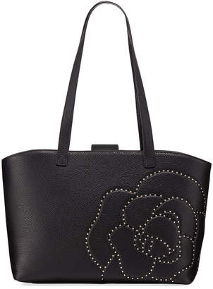 Karl Lagerfeld Paris Flora Flower-Stud Leather Shoulder Tote Bag