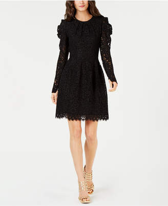 Michael Kors Puff-Sleeve Floral Lace Dress
