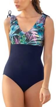 Leonisa Color Block U-Back One-Piece Slimming Swimsuit Women's Swimsuit