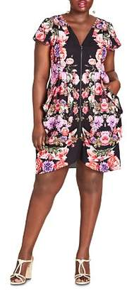 City Chic Plus Floral-Print Zip-Front Dress