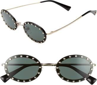 70c1be0fa1 Valentino 51mm Crystal Rockstud Oval Sunglasses