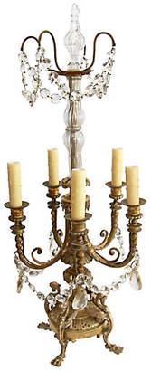 One Kings Lane Vintage Bronze & Crystal Standing Chandelier - Fleur de Lex Antiques