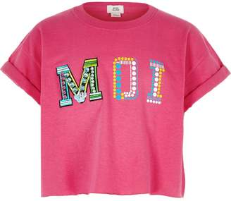 River Island Girls bright Pink 'Moi' embellished crop top