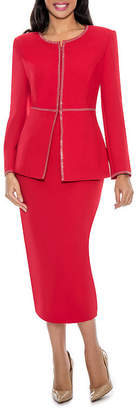 GIOVANNA SIGNATURE Giovanna Signature Women's Embellished 2-piece Washable Skirt Suit
