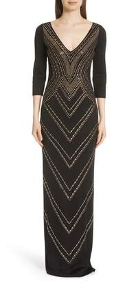 St. John Chevron Sequin Jacquard Knit Gown