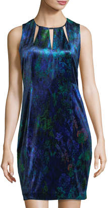 T Tahari Charma Printed-Velvet Necklace Dress