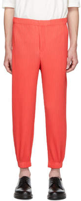 Issey Miyake Homme Plisse Red Tapered Pleat Trousers