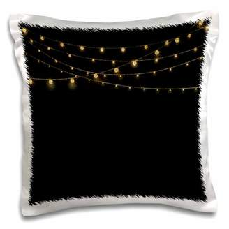 3dRose Trendy Gold Shiny Sparkling Glitter Chain on Black - Pillow Case, 16 by 16-inch