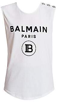Balmain Women's Sleeveless Logo Button Tank Top