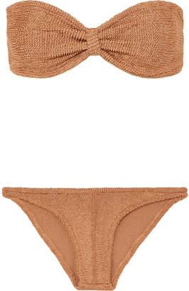 Hunza G - Jean Metallic Seersucker Bandeau Bikini - Tan