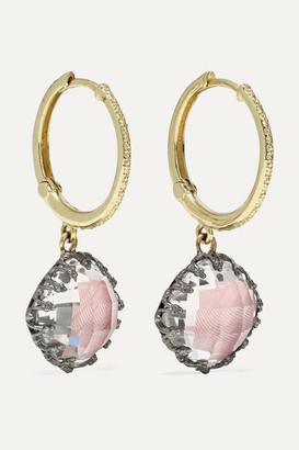 Larkspur & Hawk Lady Antoinette 14-karat Gold And Rhodium-dipped Quartz Earrings