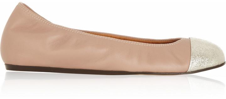 Lanvin Two-Tone Leather Ballet Flats