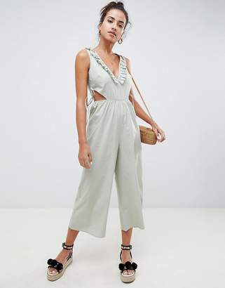 Asos Design DESIGN tea jumpsuit in cotton with tie and cut out detail