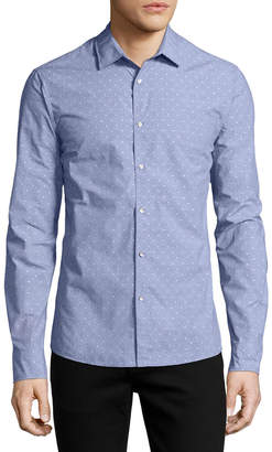 Michael Kors Dobby-Dot Slim Shirt, Blue