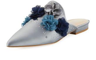 Charles by Charles David Wesley Flower Applique Satin Embellished Sandals