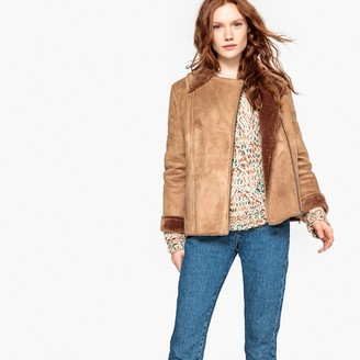 La Redoute Collections Faux Fur Lined Faux Suede Aviator Jacket