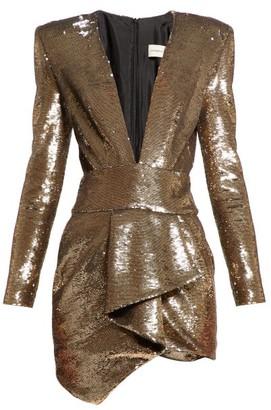 Alexandre Vauthier Plunge Neck Sequinned Mini Dress - Womens - Gold