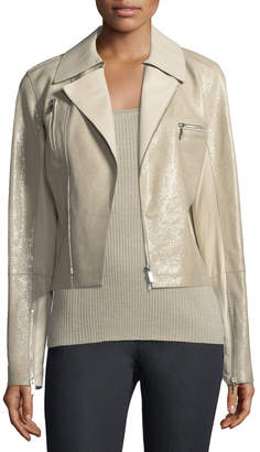 Lafayette 148 New York Bevin Checker Glass Leather Biker Jacket