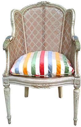 One Kings Lane Vintage Antique Rattan Wingback Chair - Vermilion Designs