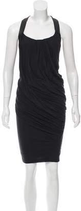 Donna Karan Leather-Trimmed Knee-Length Dress