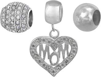 Individuality Beads Sterling Silver Crystal Mom Heart Charm & Bead Set