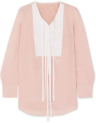 Tory Burch Tie-front Silk Crepe De Chine And Cotton Blouse - Pink