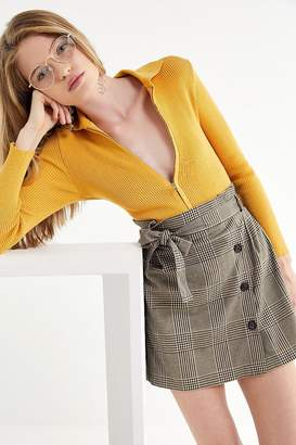 Urban Outfitters Penelope Plaid Paperbag Wrap Skirt