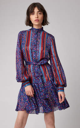 Carolina Herrera Drop Waist Dress With Sequin Panels And Belt
