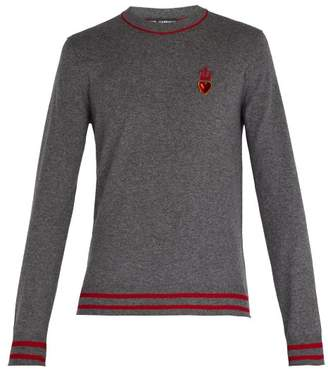 Dolce & Gabbana Heart And Crown Cashmere And Wool Blend Sweater - Mens - Grey