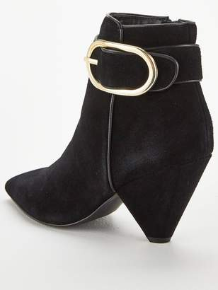 Very Farida Leather Cone Heel Ankle Boot - Black
