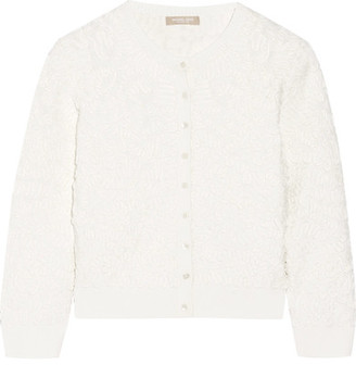 Michael Kors Collection - Cropped Soutache Stretch-knit Cardigan - White $1,195 thestylecure.com