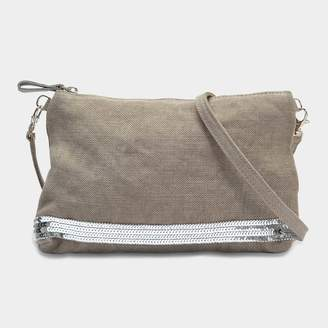 Vanessa Bruno Linen and Sequins Zipped Clutch Crossbody Bag in Calcaire Linen