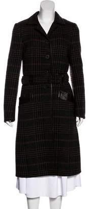 Prada Vintage Leather-Trimmed Coat