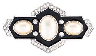 Saint Laurent Faux Pearl and Crystal Brooch