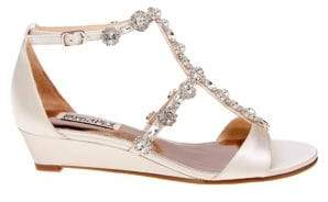 Badgley Mischka Terry Satin Embellished Sandals