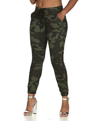 Cover Girl Junior's Pull On Camo Solid Mid Rise String Jogger Fit Sporty Active