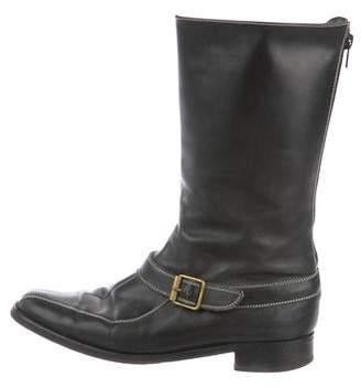 Manolo Blahnik Leather Round-Toe Mid-Calf Boots