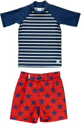 RuggedButts Stripes & Stars Rashguard & Board Shorts Set