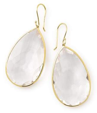 Ippolita Rock Candy 18K Yellow Gold Bezel Set Faceted Clear Quartz Pear Cut Drop Earrings